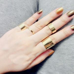 Wide Gold Band Rings (set of 4)